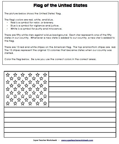 American Flag Read Color And Learn Activity For Kids Super