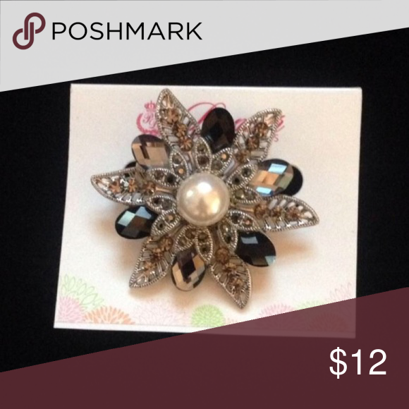 Premier Designs gorgeous brooch. NEW New in box.  Antique imitation rhodium plated faux pearls/crystals/beads Premier Designs Jewelry Brooches