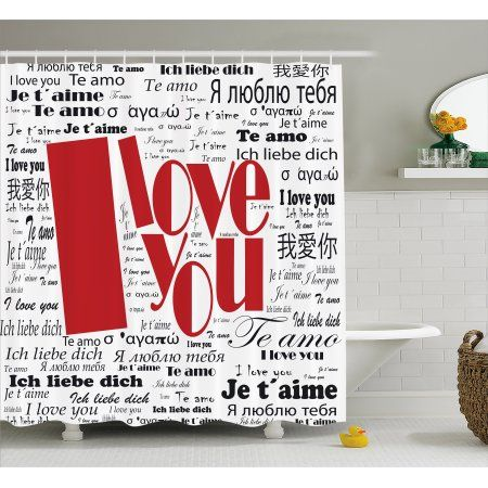 I Love You Shower Curtain Newspaper Stylized International Words Contemporary Happy Mothers Day Fabric Bathroom Set With Hooks 69W X 84L Inches