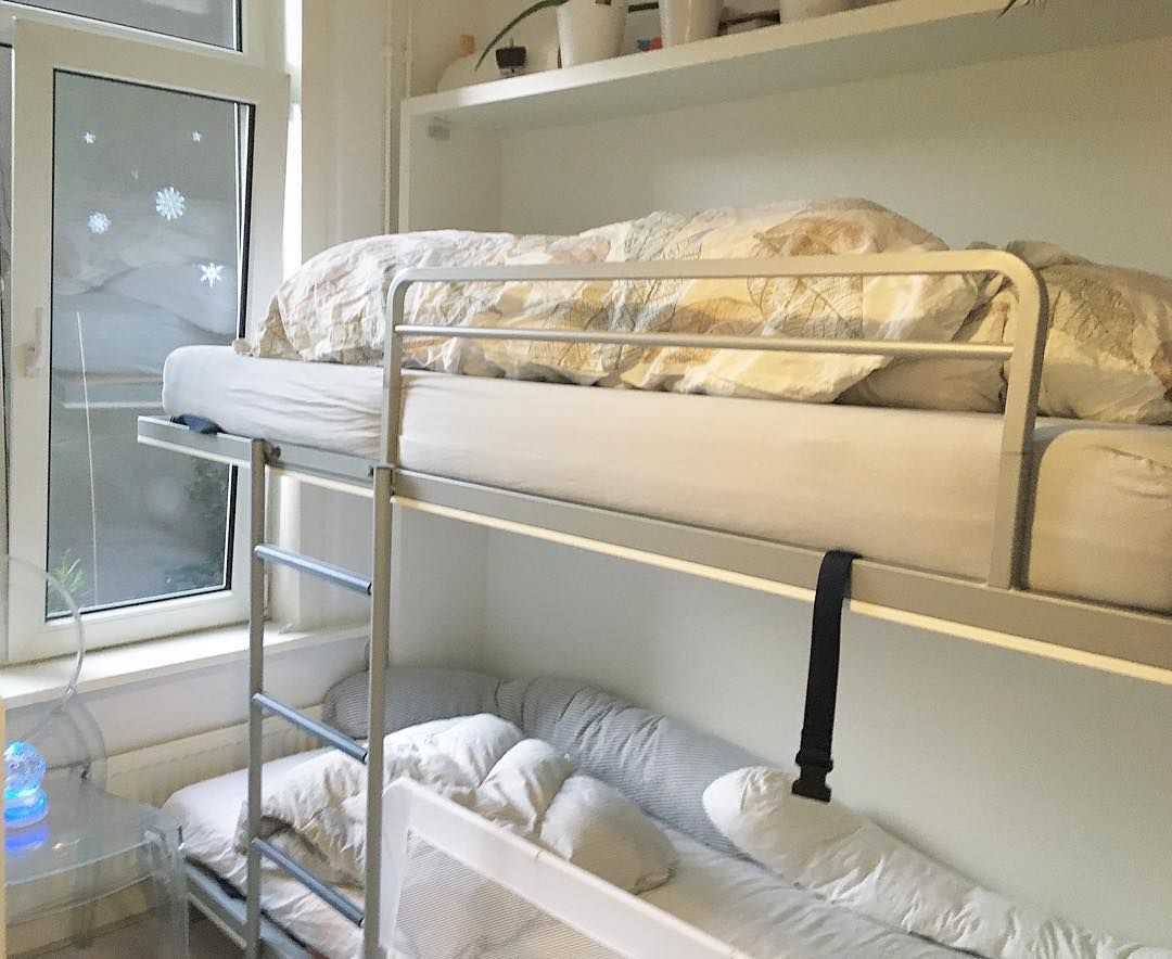 We Share Our Tiny 6m2 Bedroom With 3 People There Was No Way To Fit In 3 Normal Beds At First I Was Considering A N Ikea Loft Bed Ikea Loft Small Space Hacks