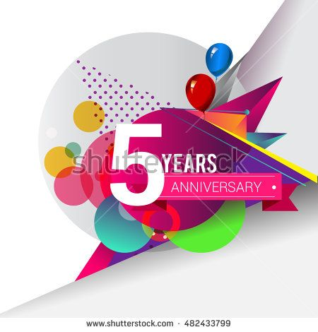 5 Years Anniversary Logo Colorful Geometric Background Vector
