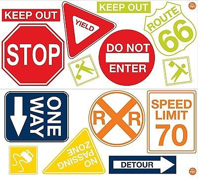 Road Sign Wall Decor Alluring Details About Road Signs 14 Big Wall Decals Cars Traffic Room Design Decoration