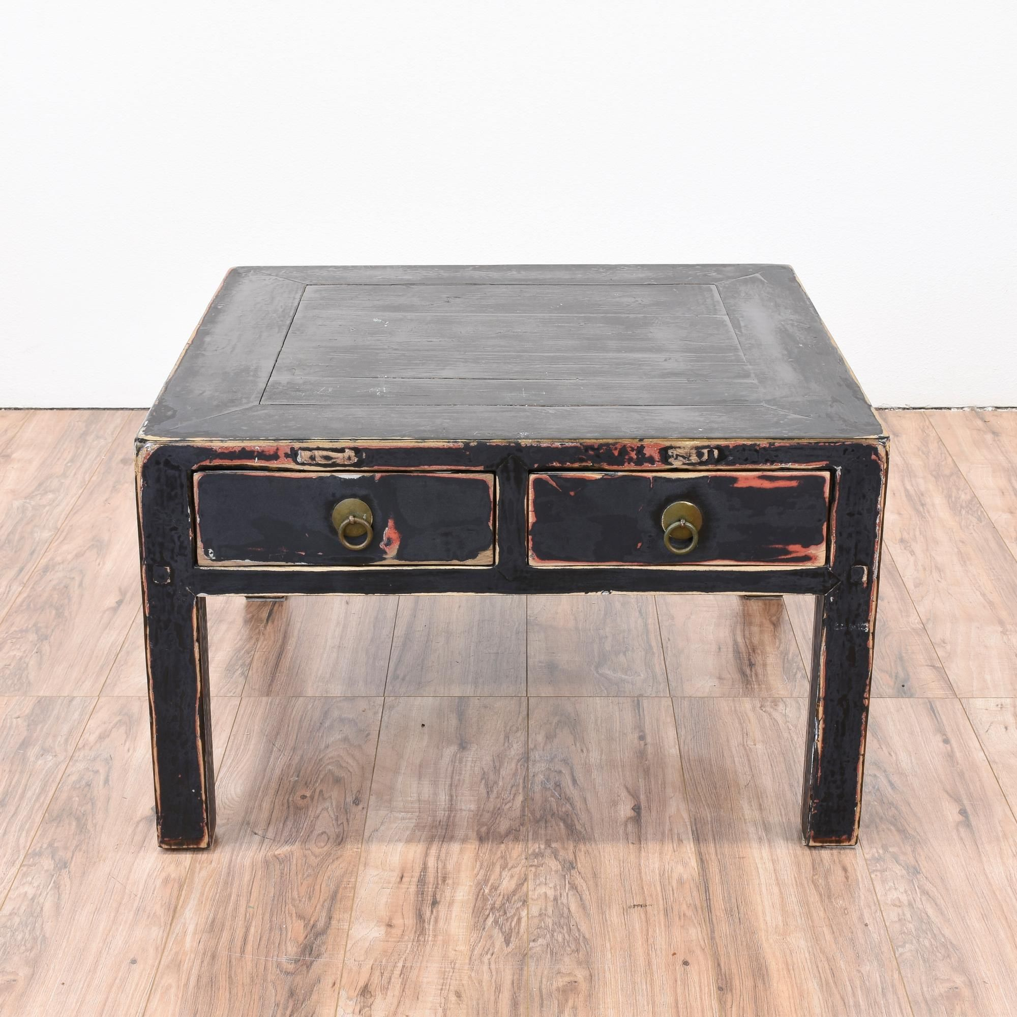 This Shabby Chic Coffee Table Is Featured In A Solid Wood Painted Distressed Black Chalk Paint With Hints Of Red Square Great