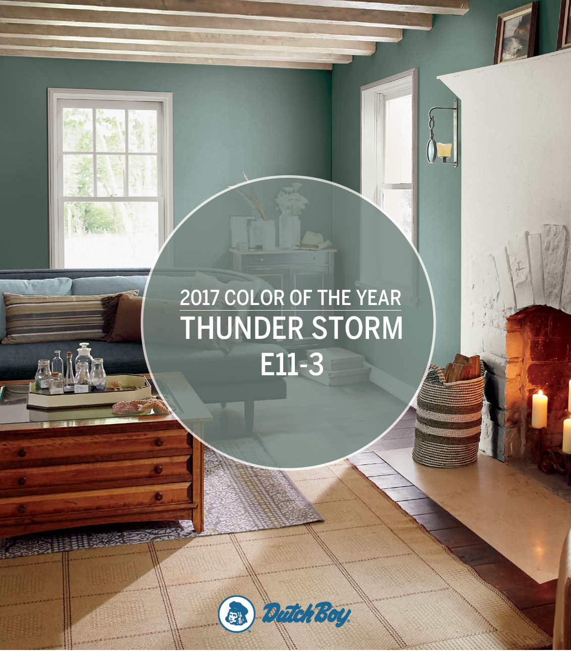 Rejuvenate your home with the Dutch Boy® 2017 Color of the Year, Thunder Storm E11-3. Discover this soothing, versatile shade and more Dutch Boy colors on our trends board.