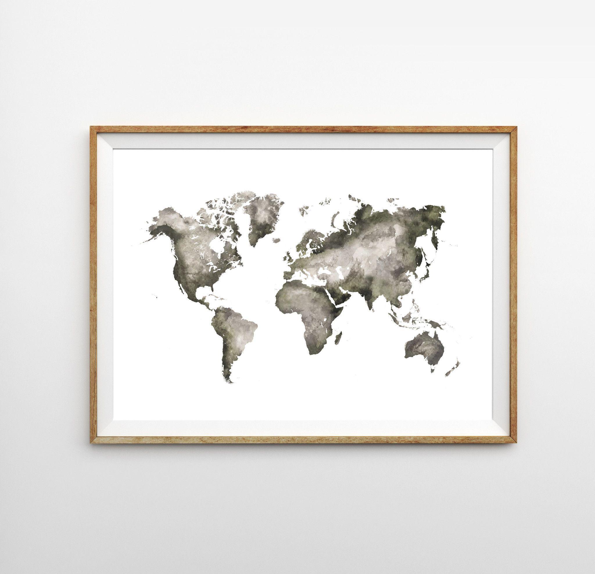 World Watercolor Map Print