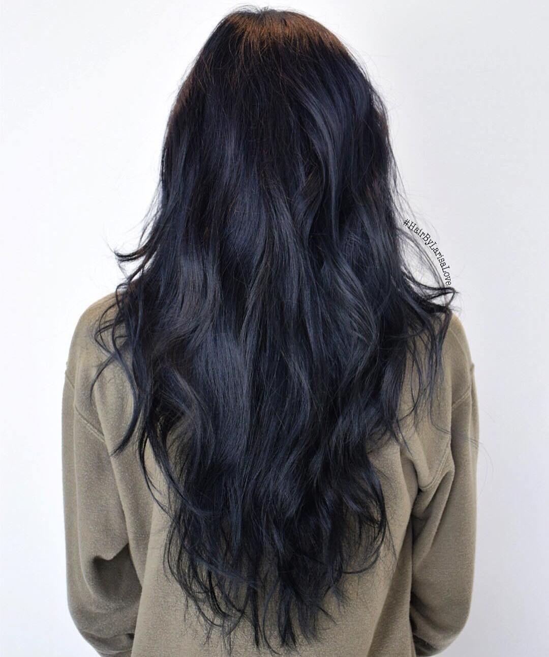 Long Layered Black Hairstyle  Blue black hair, Black hair dye