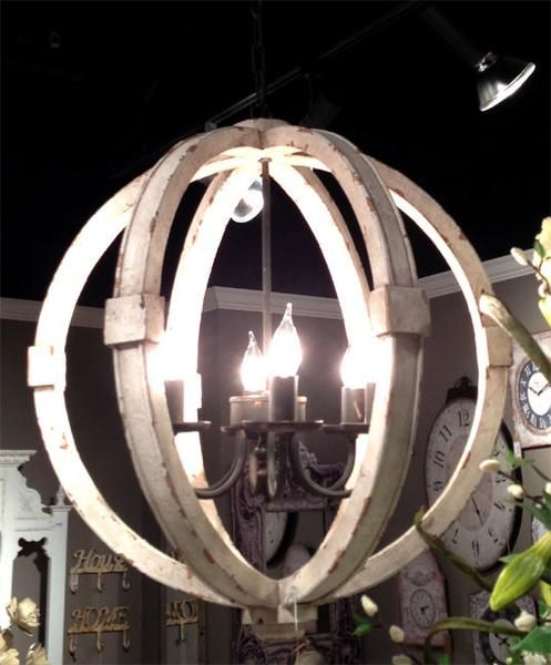 Antiqued White Painted Distressed Wood Orb Chandelier This Rustic Shabby Chic
