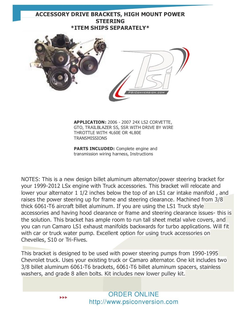 medium resolution of accessory drive brackets high mount power steering by psiconversion via slideshare trailblazer ss truck