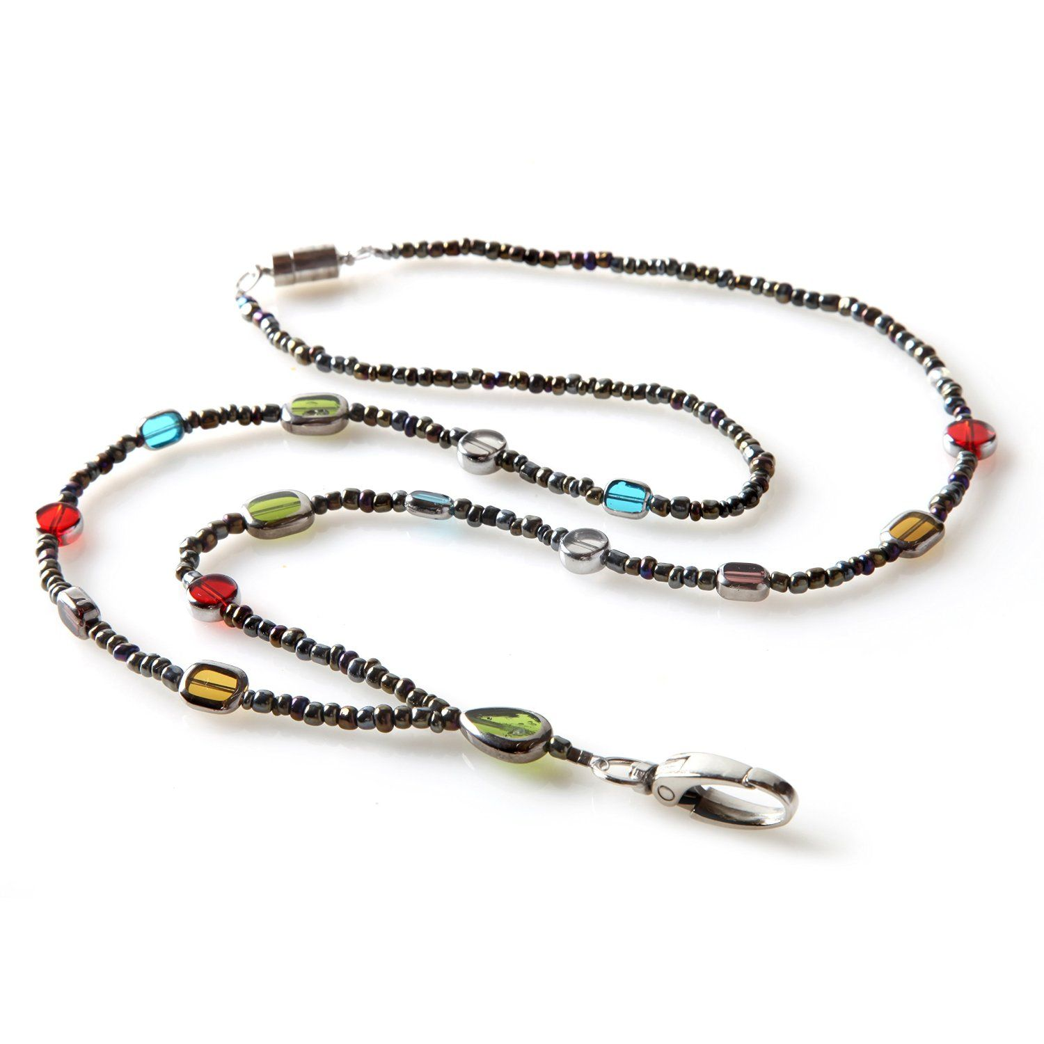 Amazon.com: BoojeeBeads Stained Glass Beaded Badge ID Necklace ...