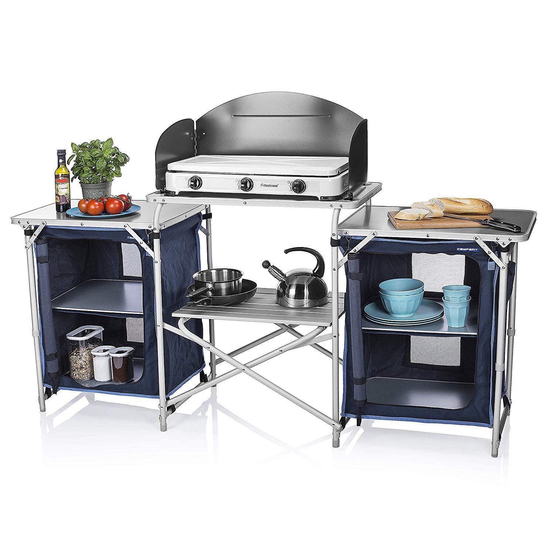 Cocina de camping. Mesas plegables dos compartimentos de ...
