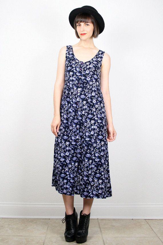 Vintage 90s Dress Soft Grunge Dress Navy Blue Dress Midi Dress Maxi Dress Babydoll Dress 1990s Dress Liberty Floral Print Sundress M L Large #vintage #etsy #90s #1990s #grunge #softgrunge #midi #floral #dress #babydoll by ShopTwitchVintage