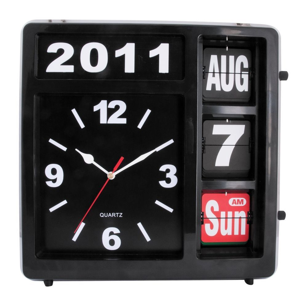 Spirit Quartz Automatic Flip Top Wall Clock Month Day Date Time Year Black Contemporary