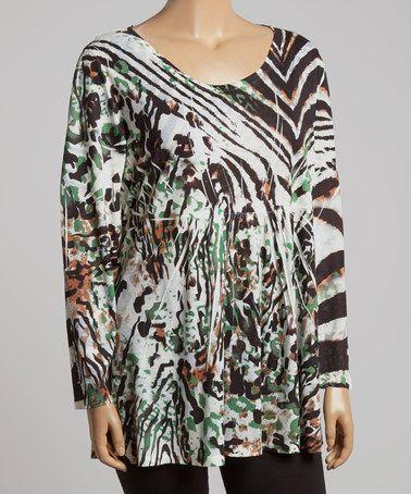 Another great find on #zulily! Zebra Safari Scoop Neck Tunic - Plus by Sienna Rose #zulilyfinds
