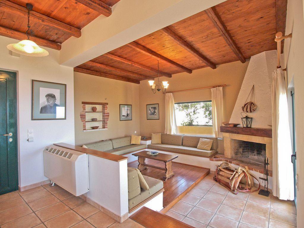 Stalos villa rental 3 Bedroom Villa Living area (With