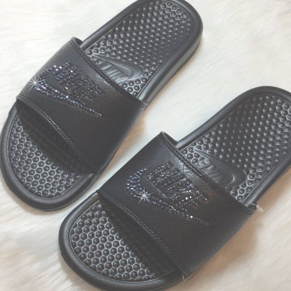 2b1bff0c367b2 Bling NIKE Slides Bedazzled ALL BLACK Sparkly Nike Sandals for Women Great  for Christmas