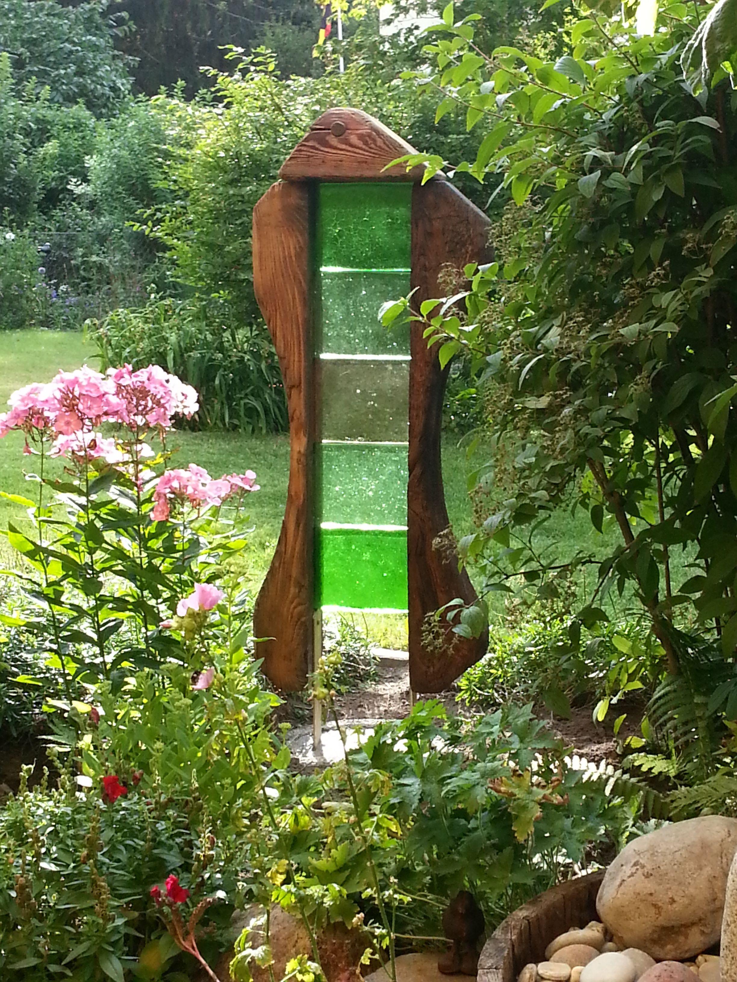 Gartenskulptur - Eichenbalken, Dallglas