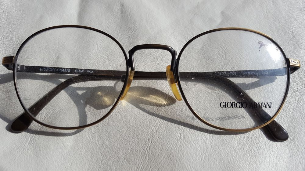 Vtg 80s-90s Giorgio Armani 127-705 Bronze Metal Round Eyeglasses ...