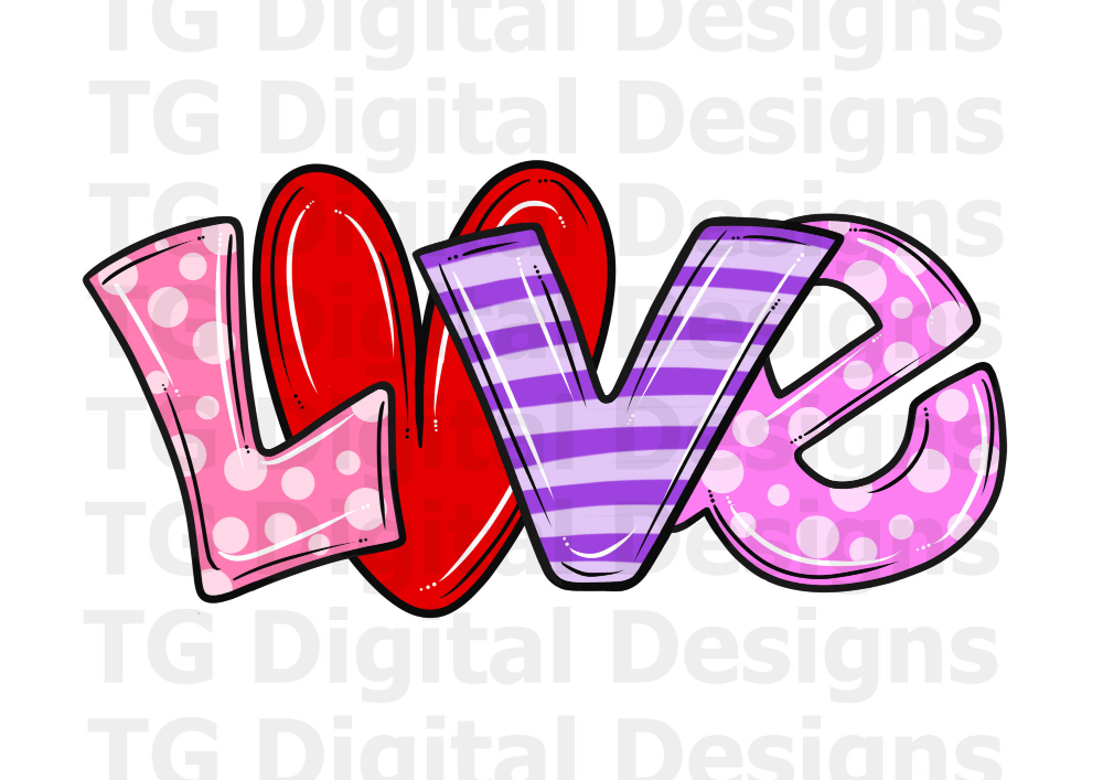 Pink and leopard letters Sublimation Transfer LOVE Valentine Ready to Press
