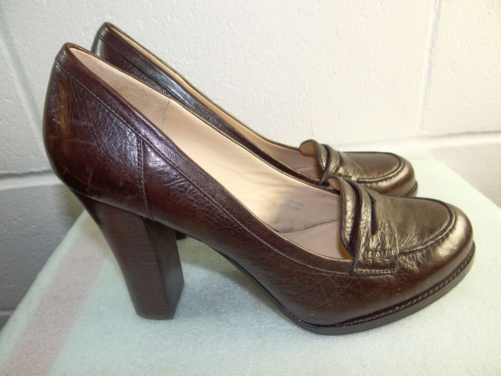 05aa1dd233b5 VIA SPIGA Brown Leather Penny Loafer Block Heel Pump Women 11M  fashion   clothing  shoes  accessories  womensshoes  heels (ebay link)