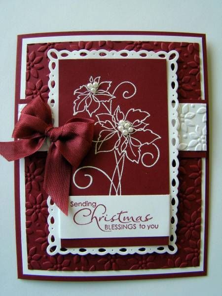 elegant Christmas card in burgundy and white...luv the white embossing on red...