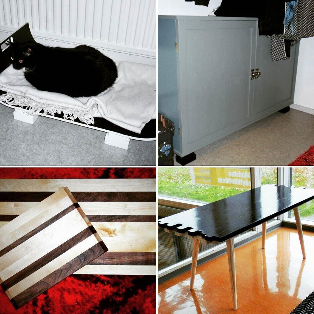 Päätyöt tähän asti. Main works so far at school. Cat's bed (birch veneer) shoecabinet (birch) couple cuttingboards ( birch & walnut wood) coffeetable ( pine & spruce) #woodwork #puutyö #itsetehty #diy de minnakole