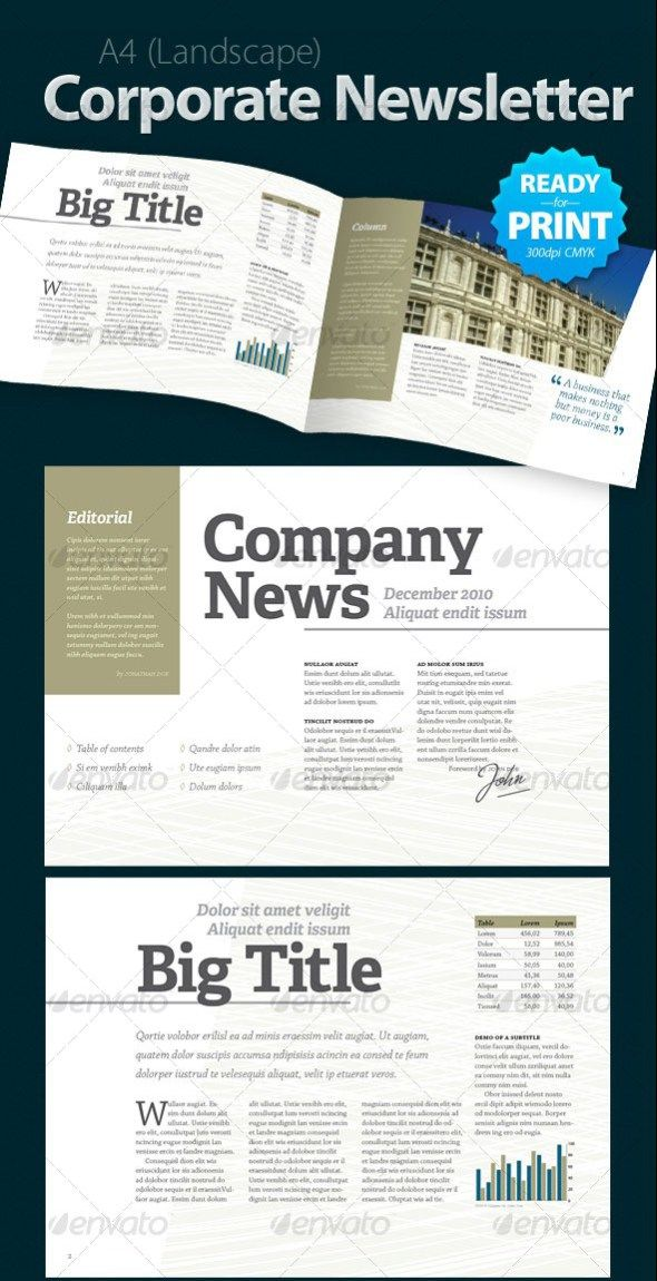 Corporate Newsletter (4 pages) Templates Pinterest Newsletter - news letter formats