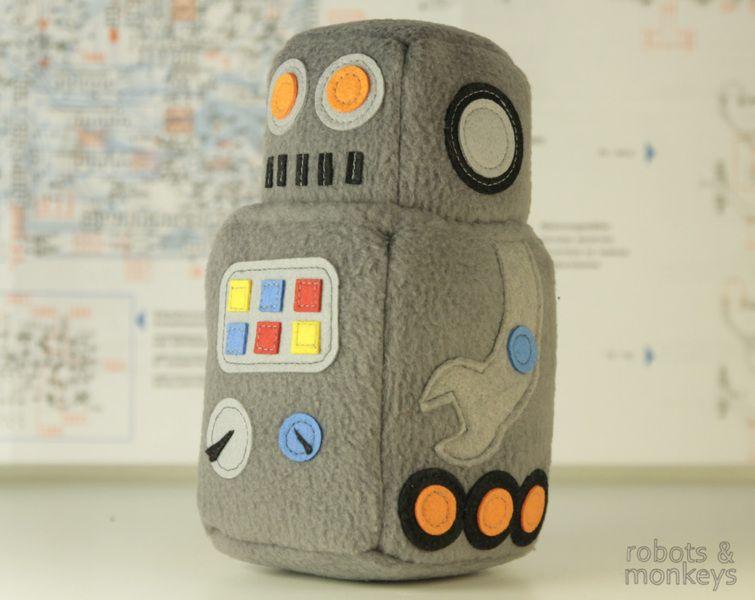 Simon Robot, handgemachter Kuschel-Roboter von Robots and Monkeys ...