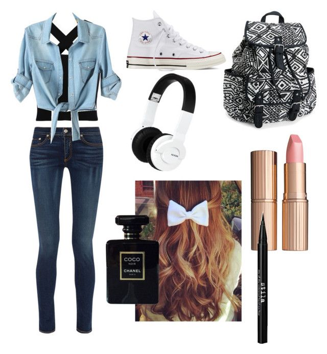 """Untitled #8"" by joliexjacques on Polyvore featuring rag & bone, Converse, Aéropostale, Nixon, Charlotte Tilbury, Chanel and Stila"