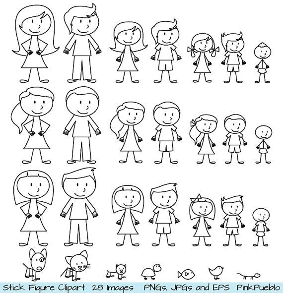 Stick Figure Clipart Clip Art, Stick People Family and Pets ...