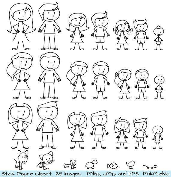 Stok Figuur Clipart Illustraties Familie Van Stok Mensen En