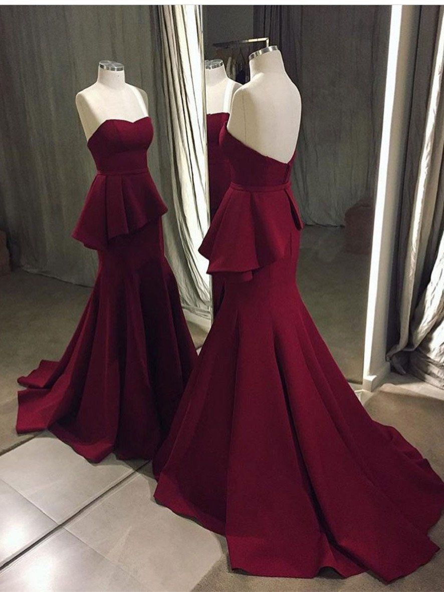 Mermaid sweetheart sweep train satin simple burgundy prom dresses