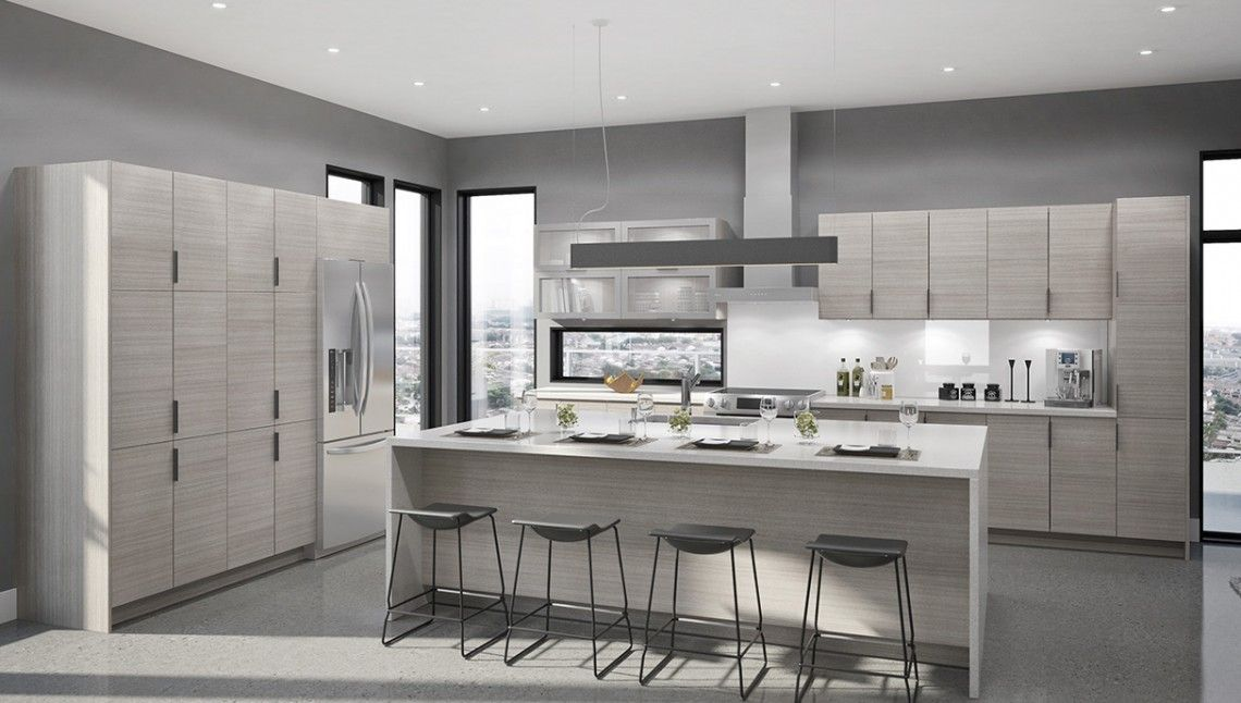 Possible Kitchen Island Cabinet Color Option EUROSTYLE Geneva - Warm gray kitchen cabinets
