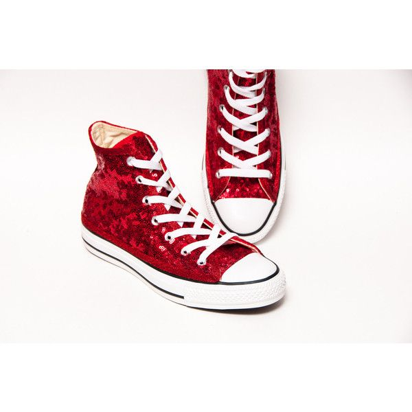 d96ce5b8ada8 Tiny Sequin Starlight Red Customized Converse Canvas Hi Top Sneakers...  ( 130)