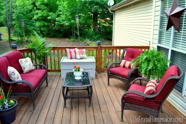 Deck Makeover From The Frugal Homemaker I Need One Of Those Little Outdoor Boxes For Cushio Deck Furniture Layout Patio Furniture Layout Small Deck Furniture