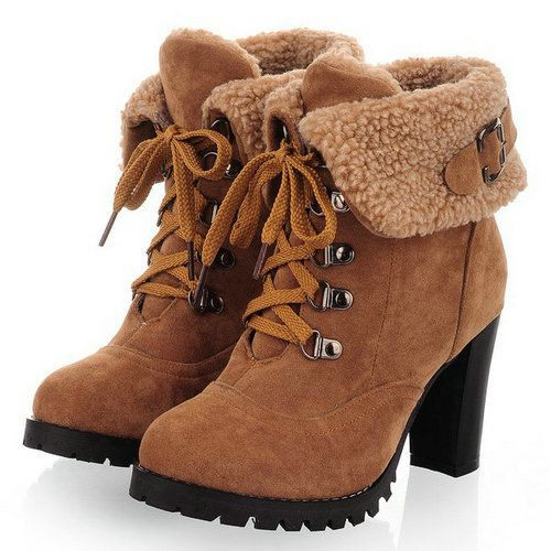 New hot sale Fashion Women Ankle Boots High Heels Lace up Snow Boots Platform Pumps shoe $34.33