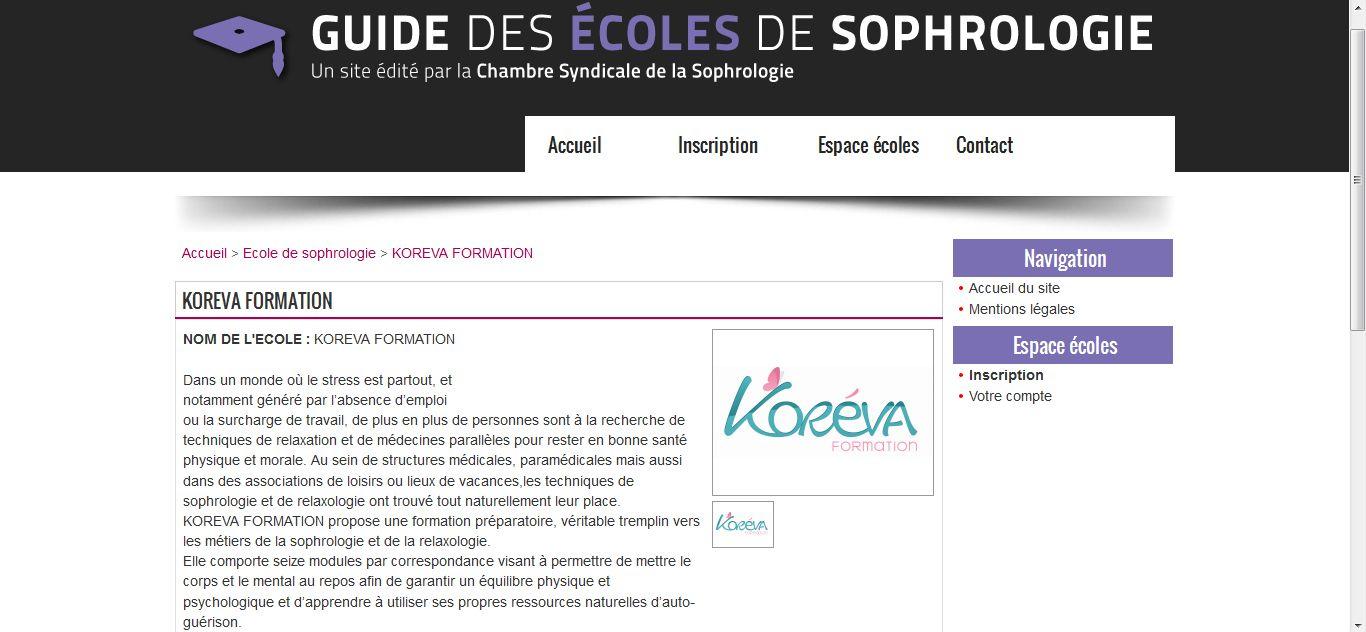 Bonne Nouvelle Votre Ecole Koreva Est Referencee Dans Le Guide De La Chambre Syndicale De La Sophrologie Sophrologie Espace Ecole Ecole