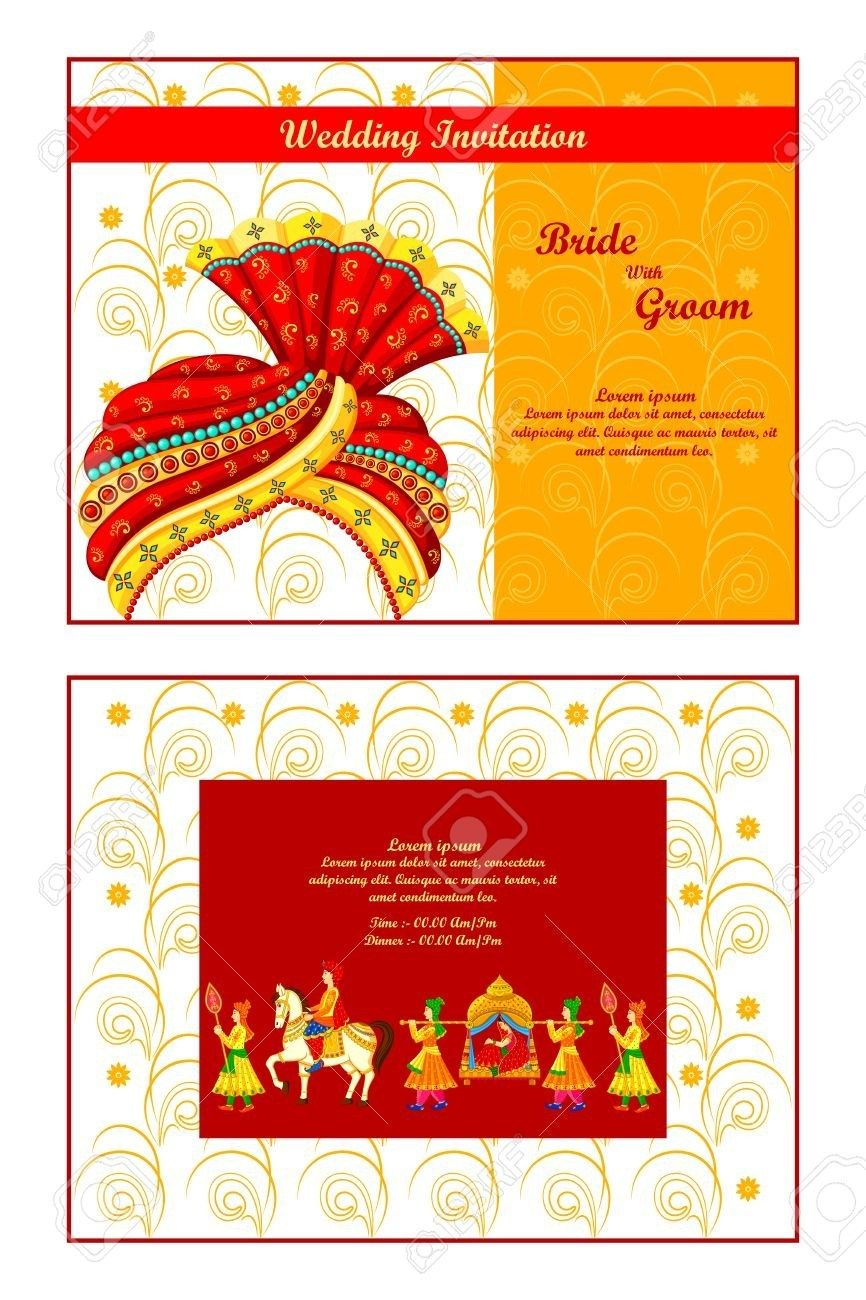 Indian Wedding Invitation Vector Illustration Of Indian