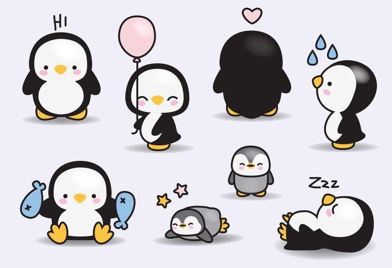 Premium Vector Clipart Kawaii Penguins Cute Penguins Clipart Set High Quality Vectors Instant Download Kawaii Clipart In 2021 Kawaii Penguin Cute Drawings Cute Art