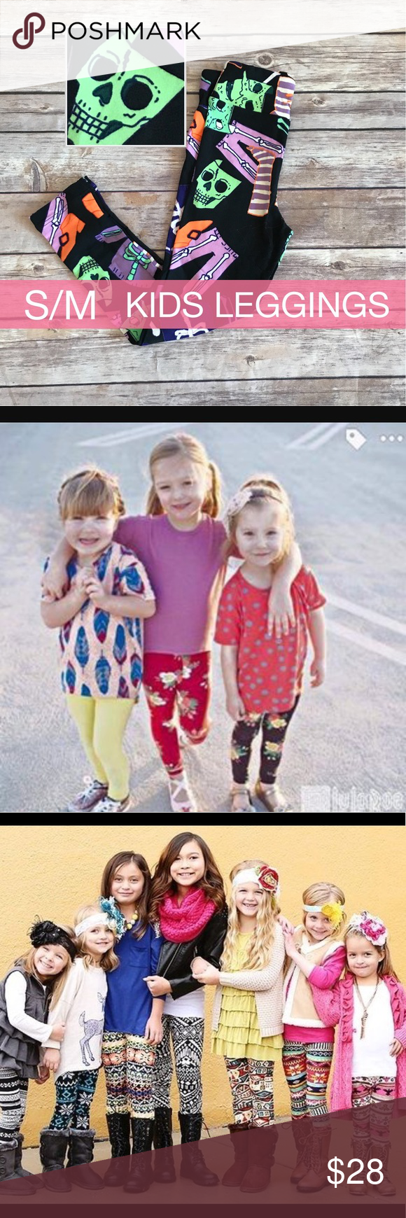 HALLOWEEN🎃NWT 2017 RARE LuLaRoe Kids S/M Leggings 🎃NEW HALLOWEEN 2017!!! 🎃NWT RARE UNICORN LuLaRoe Kids' Small/Medium Size. Black with skeletons design. LuLaRoe carefully designs each print for these fun print kids' Leggings to be as unique and bright as possible. ... They are produced in both fun print Leggings and solid Leggings styles. Machine Washable!   Not a consultant, just a LuLaRoe Lover!          SIZING: average sized girls 2-8 LuLaRoe Bottoms Leggings