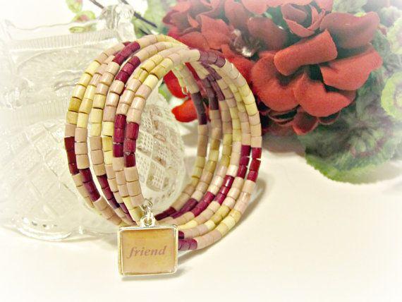 Friendship Wrap Bracelet - Cranberry, Lt Mauve, Natural - by RomanticThoughts
