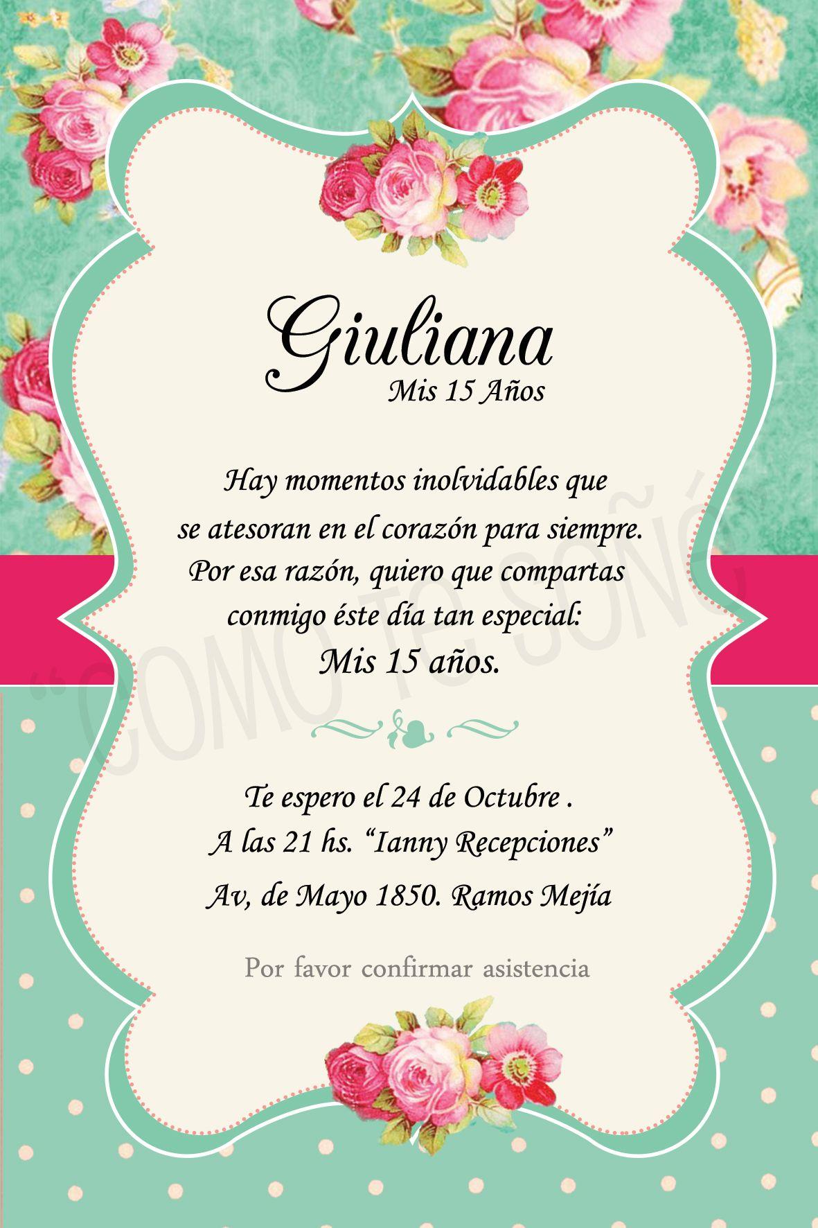 Cumple 15 15 Años Invitaciones Quinceañera Invitaciones Y