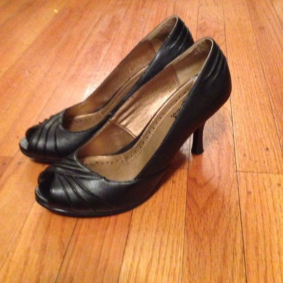 Candie's peep toe heels. Worn once Perfect condition short heel. Ready to ship today Candie's Shoes Heels