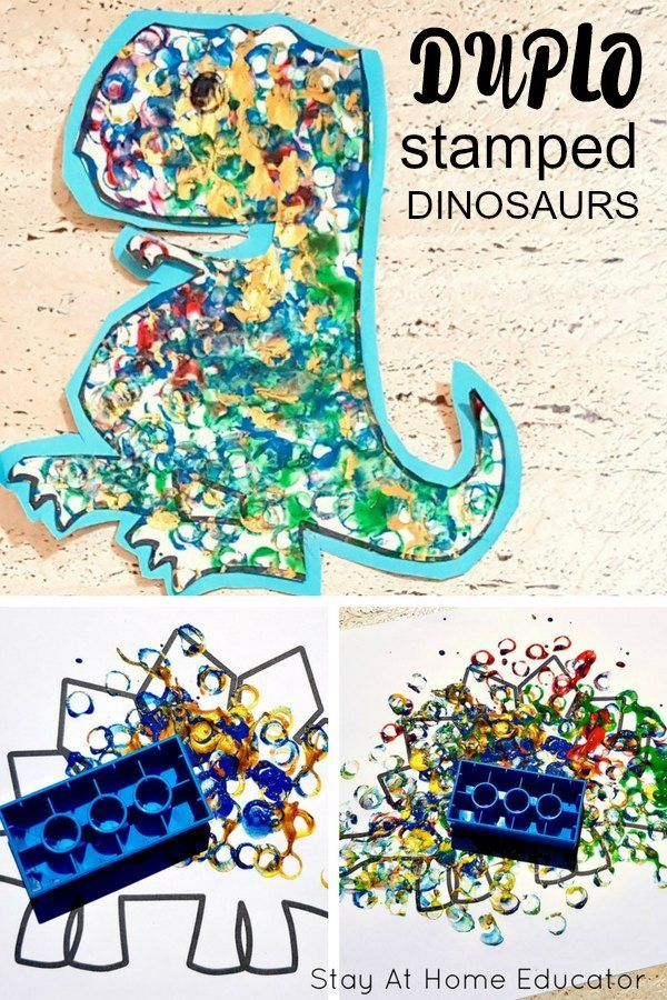 Make Stamped Dinosaur Art with Preschoolers and Toddlers