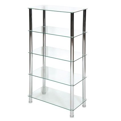 Milano 5 Tier Clear Glass Shelving Unit With Chrome Legs Awesome Design