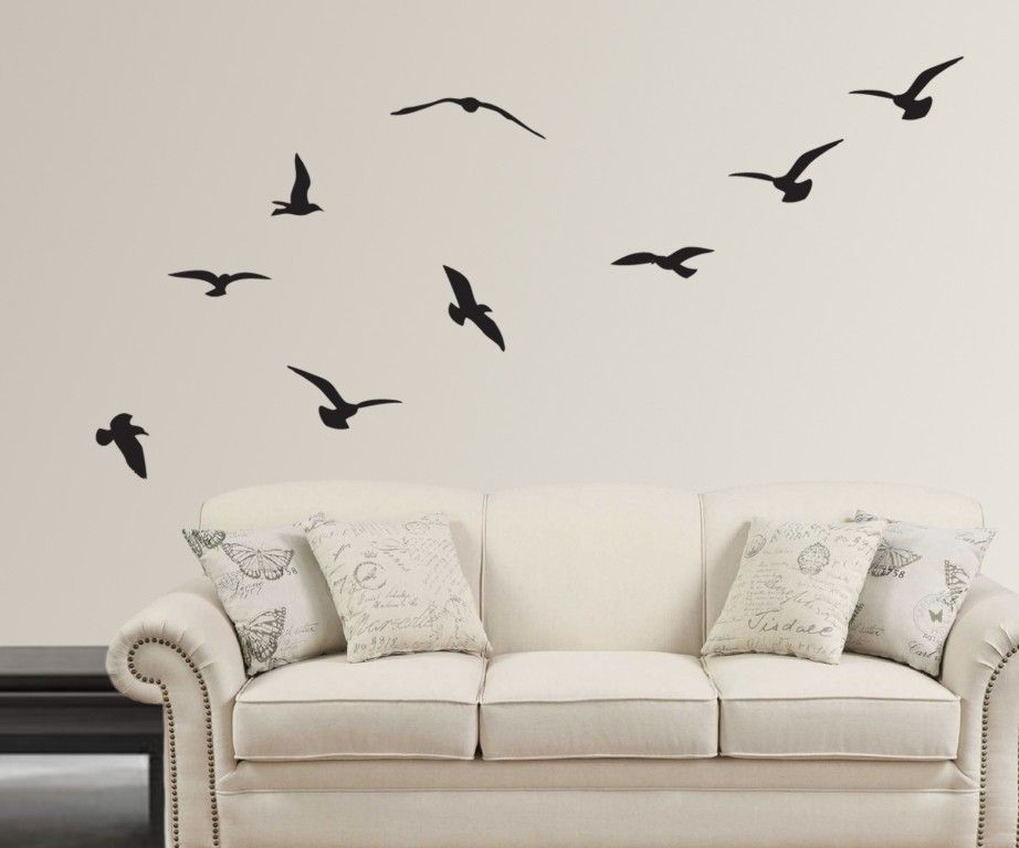 home decorationartistic flying birds silhouette design wall decal with high quality white bacgroung painting - Artistic Wall Design