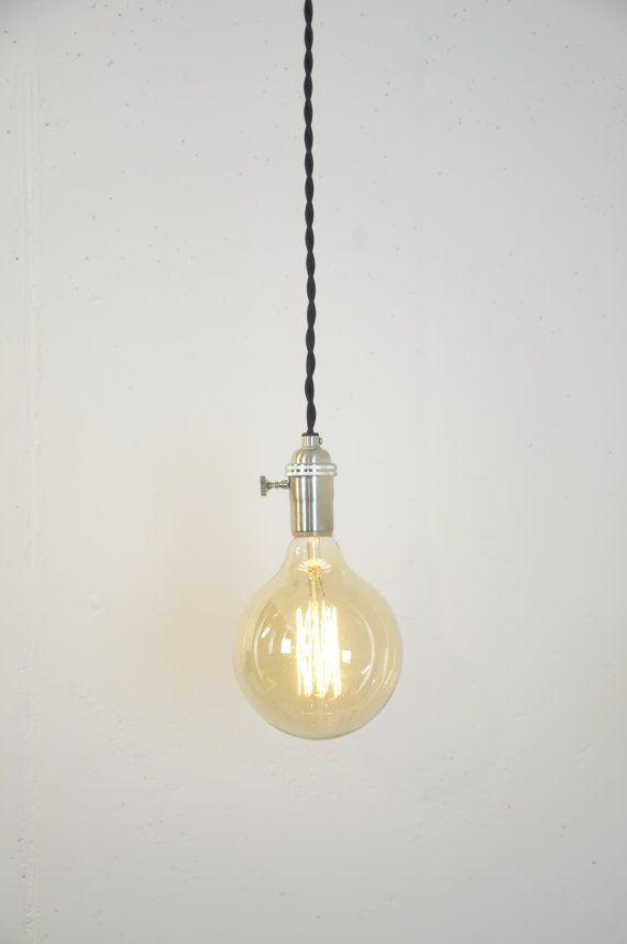 Brushed Nickel Turn Knob Pendant Light Fixture By Wiresnjars