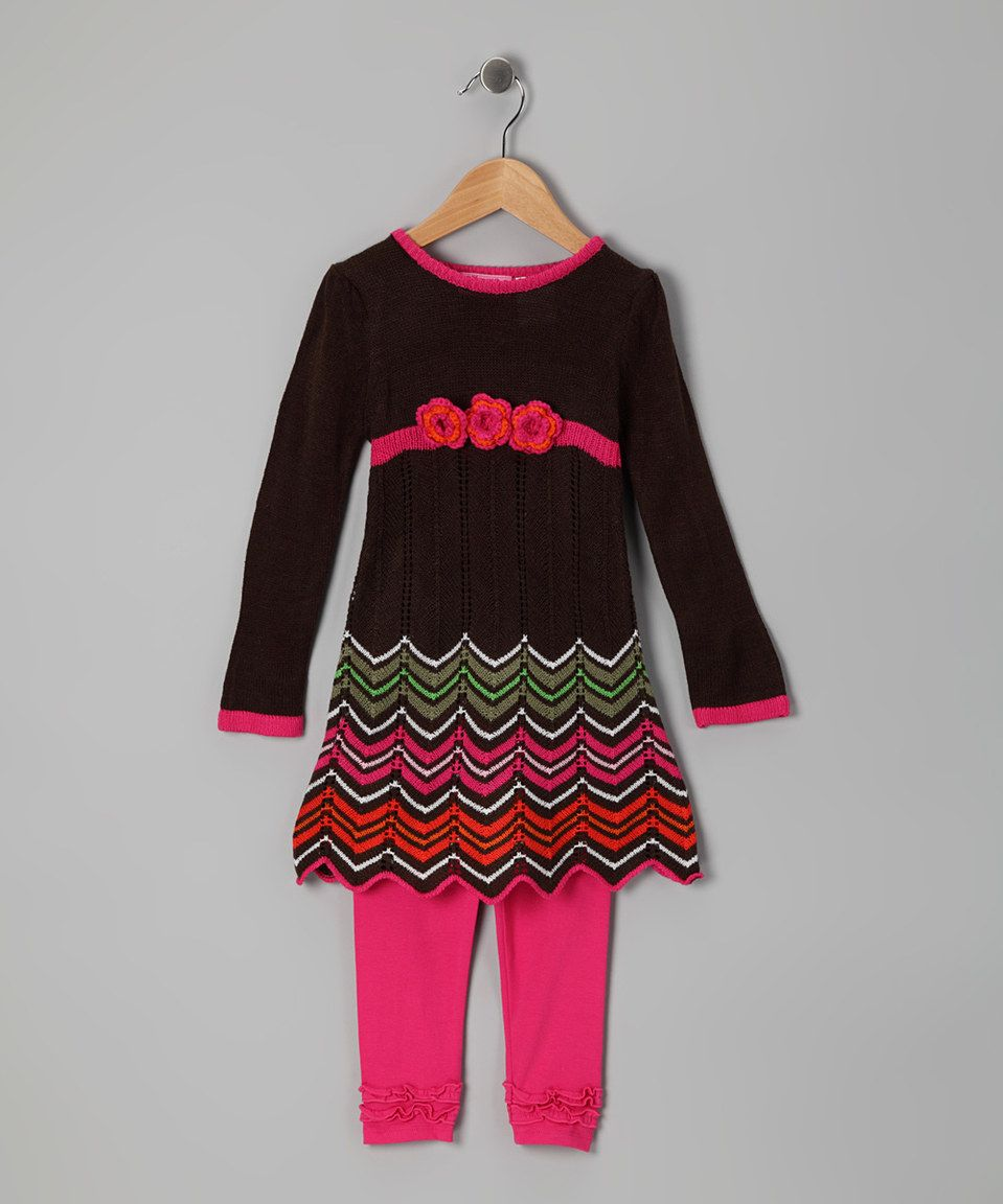 Loving this Brown Zigzag Tunic & Leggings - Infant & Toddler on #zulily! #zulilyfinds