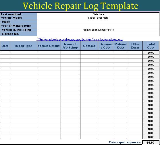 Vehicle Repairing Log Template | Free Printable & Editable ...