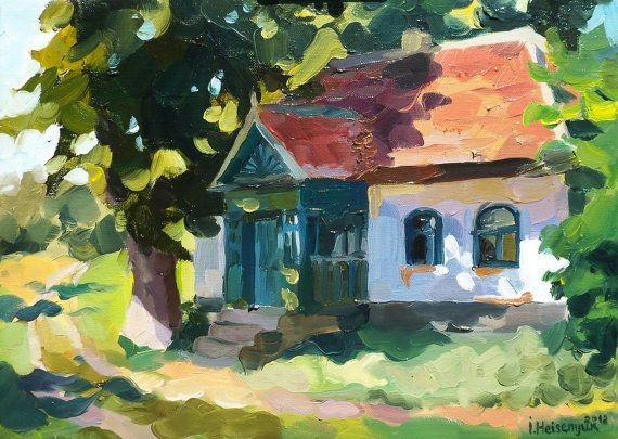 Original Oil Painting of home. 11.8'' x 15.7'' Ready to hang. Summer landscape. Painting of house on canvas.The old house by the old road.