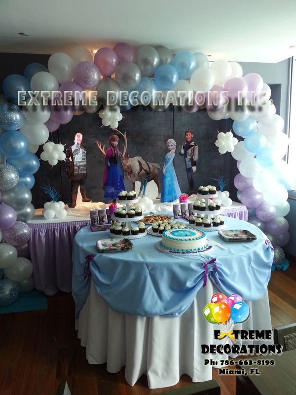 frozenpartydecorations Frozen cake table decoration kids party